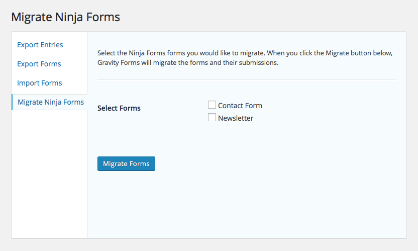 Screenshot for Migrate Ninja Forms to Gravity Forms